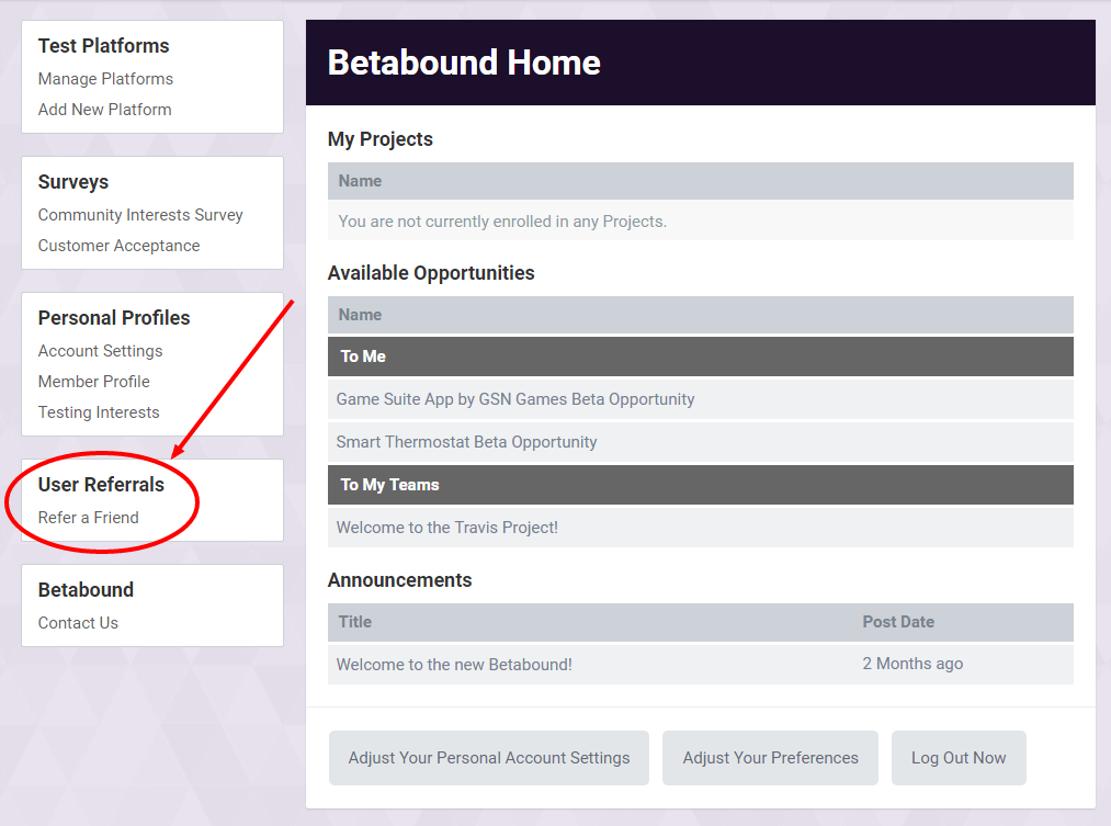 Refer a Friend Betabound Homepage