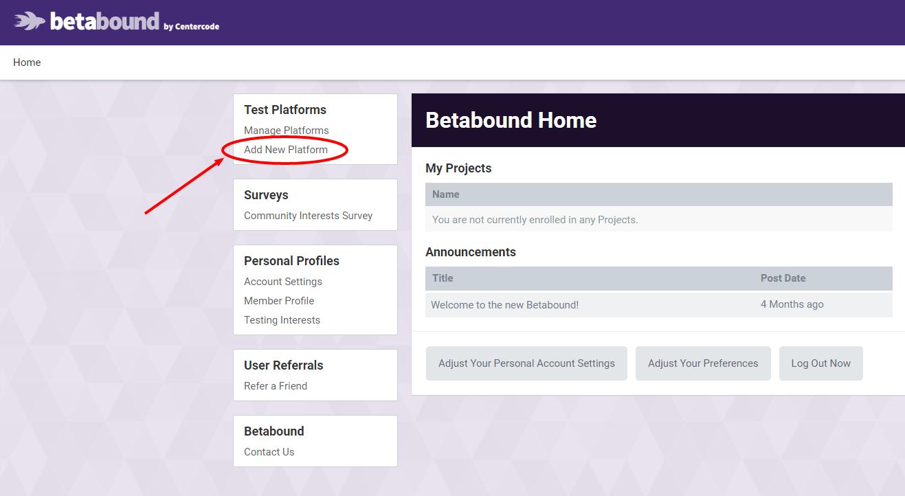 Add New Test Platform Screenshot