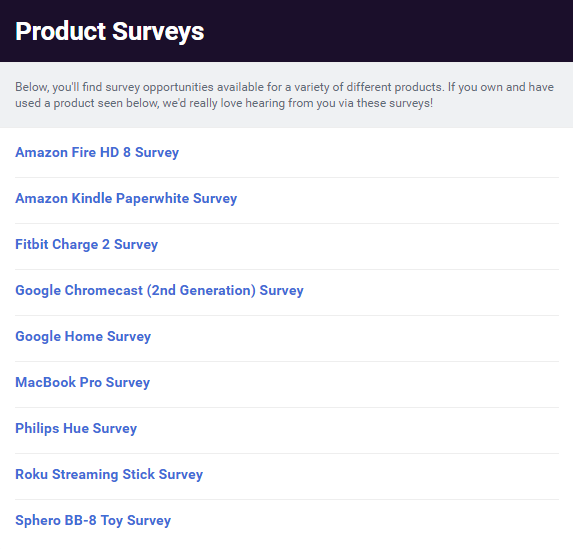 List of Betabound Product Surveys